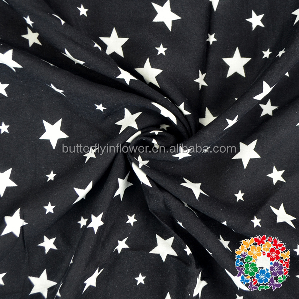 Fashion white stars printed on black cotton fabric printing african women dress fabric textile