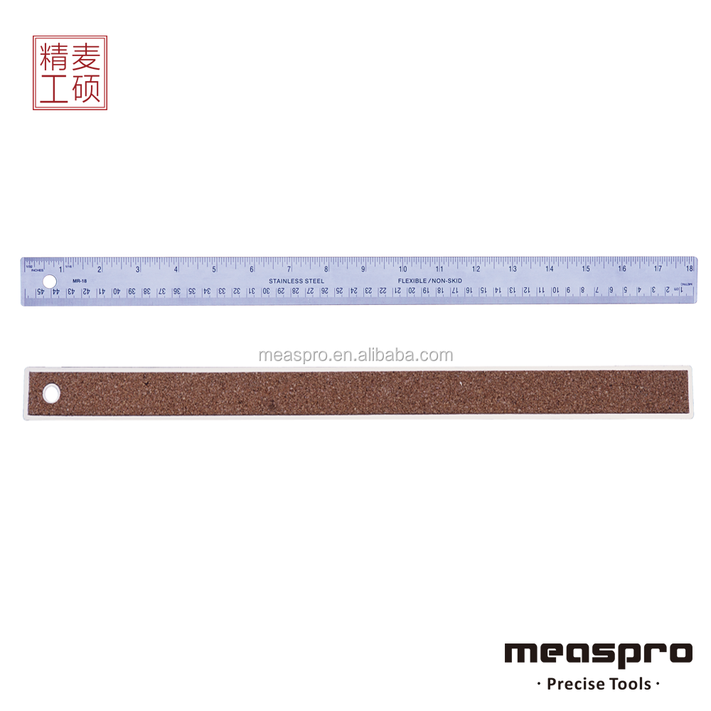 Non-Skid Stainless Steel Ruler with etched scale