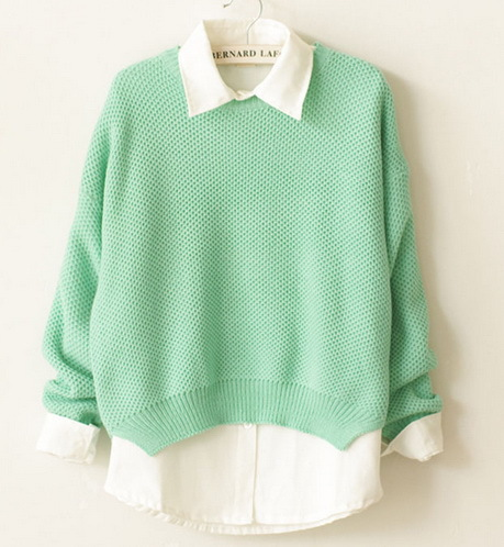 New hot high quality fashion light green girl knitted pullover sweater, made of acrylic,OEM and ODM orders welcomed