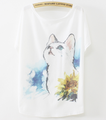 Ladies tops woman t shirts batwing sleeve cute cat design summer fashion printed Korean t-shirt