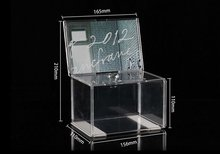 Acrylic donation box with lock, acrylic ballot box with metal chain; Acrylic Decorative money donation box