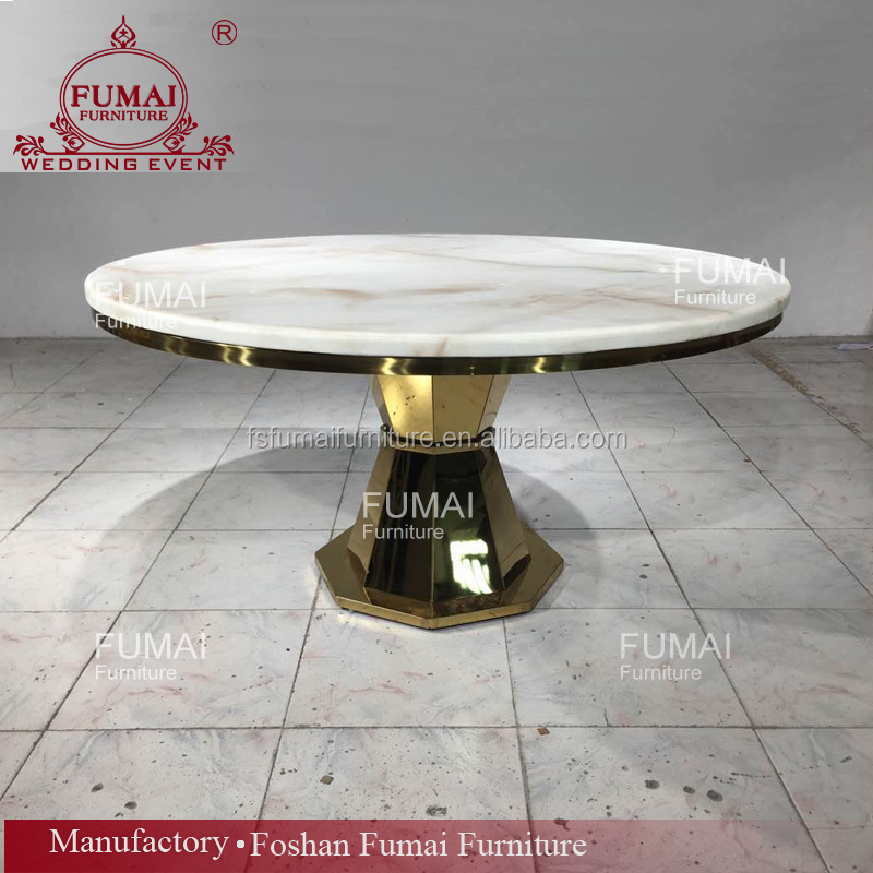 Round gold mirror glass stainless steel base marble top dining table