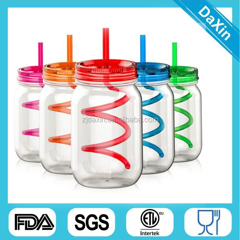 20 /24 OZ BPA Free Double Wall Colorful Plastic Mason Jar With Lid and Straw