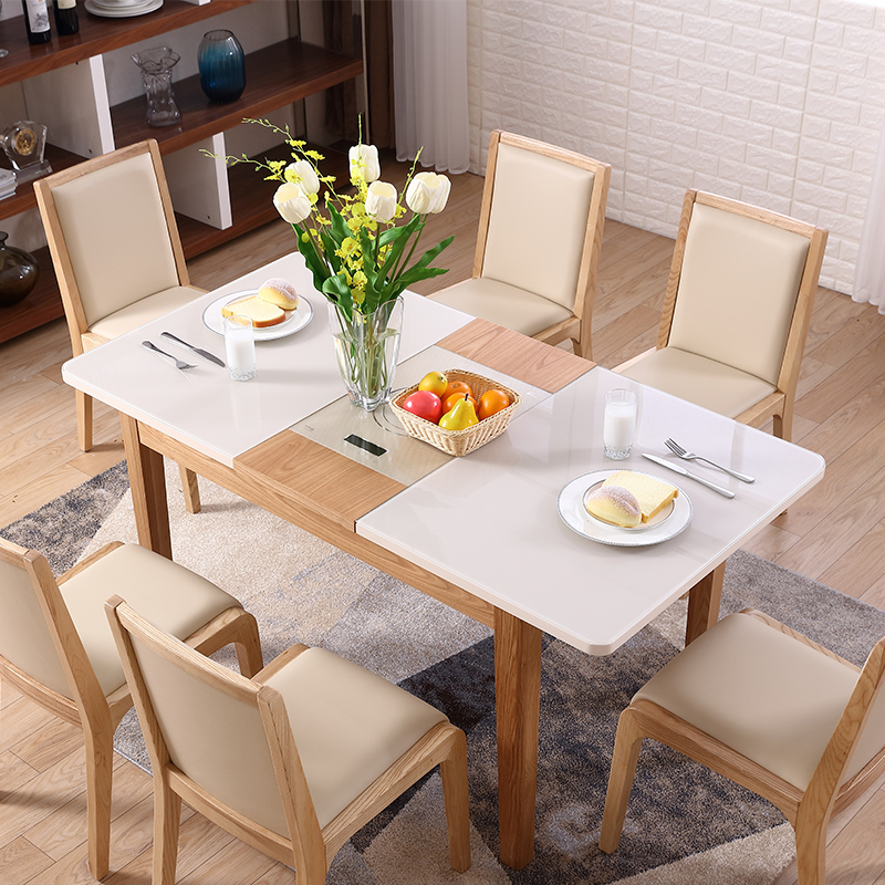 Cheap high gloss extendable dining <strong>table</strong> Nordic furniture modern wooden extend dining <strong>tables</strong>