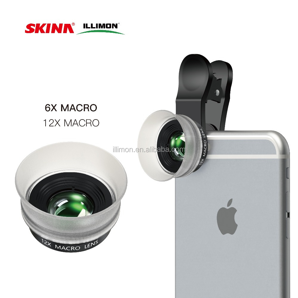 ILLIMON Mobile Photography DSLR Lens Cell phone Camera Lens 6X 12X 24x Macro Lens Microscope for iPhone iPad Samsung Nokia
