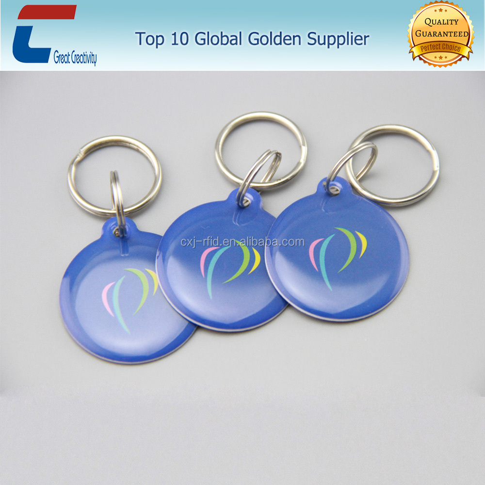 Epoxy coating nfc card smart keychain with key ring