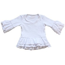 High quality for kids girls blank ruffle white cotton long sleeves plain t shirt wholesale price 3M- 12T