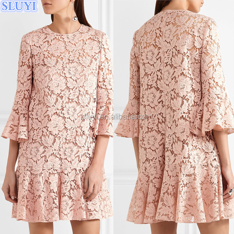 Women 3/4 Sleeve Solid Color Flare Sleeve Cotton Waisted Ruffled Hem CASUAL Modern Dress Transparent Lace Mini Dresses