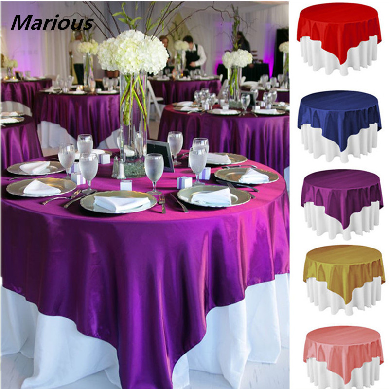 popular fancy wedding cheap silk satin table overlay