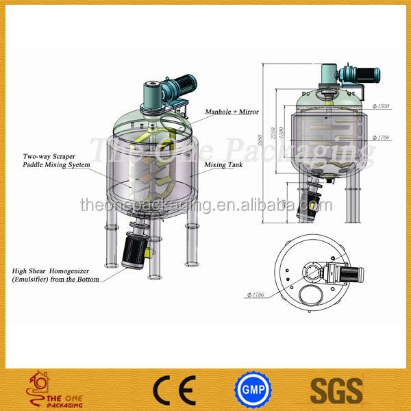 Reactor Tank,Emulsifier For Chemical,Cosmetic,Pharmacy