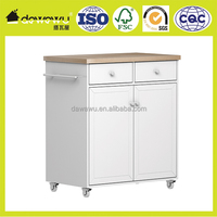 Wooden Wihte Mobile Kitchen Cart White