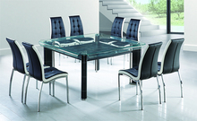 wholesale china 10mm 8 or 10 seater modern cheaper ali crystal glass top dining table set