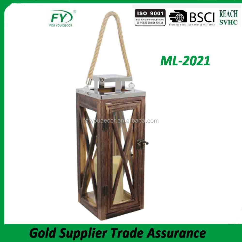 No battery wood lantern with stainless steel lid and LED candle