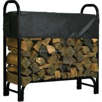 garden covered firewood log tool rack