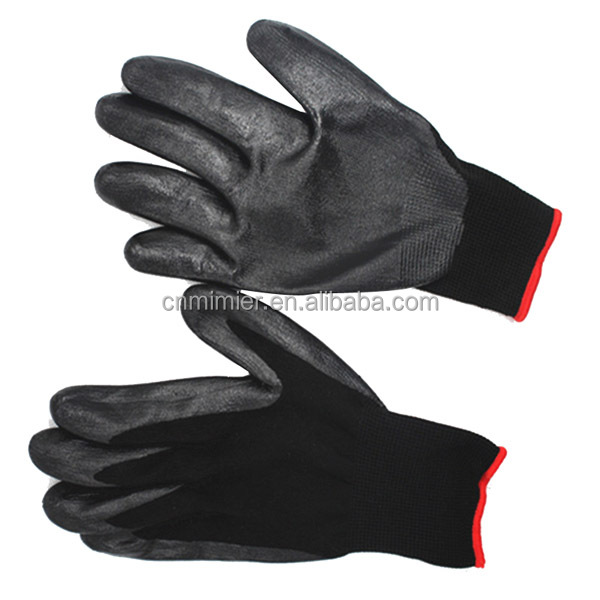 Cheap Black Nitrile Latex Coated Gloves