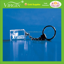 3D Laser Engraved Crystal LED key chain/promotional gifts