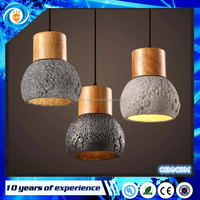 Nordic retro vintage E27 led warm white Wooden cement droplight For Restaurant Bar aisle Coffee hall Wood Cement Pendant Lights
