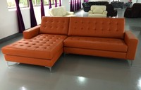 Manufacture living room furniture multi-purpose futon design corner leather sofa cum bed