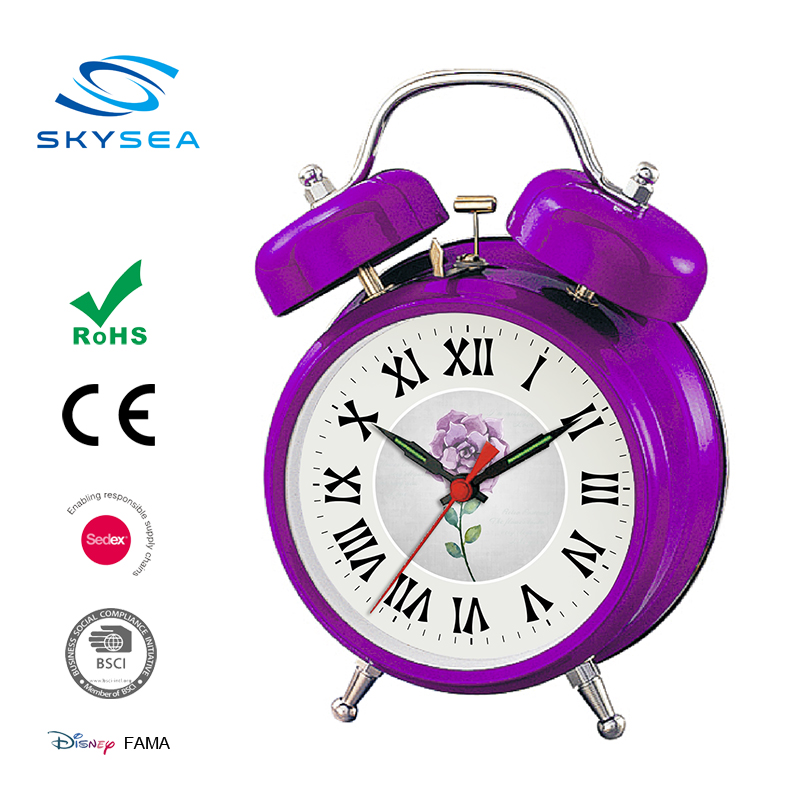 Promotional purple cheap mechanical table clock silicone Alarm clock