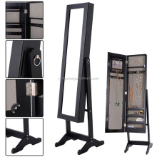 Floor standing storage boxes organiser wall mounted wooden mirror jewelry cabinet