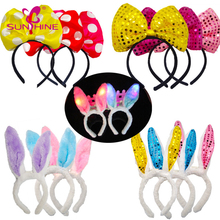 Halloween Glow Plush Bow Bunny Ears Headband Rabbit Girl Light Up Headband