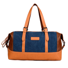 custom polo classic travel bag / carry on canvas leather shoulder bag
