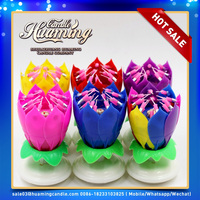 HUMMING manufacturer high quality and happy musical flower birthday candle wholesale