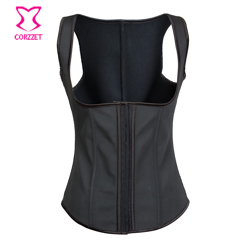 Black Waist Training Underbust Rubber Latex Corset Vest Gothic Steel Boned Corselet Sexy Women Corsets And Bustiers Espartilho