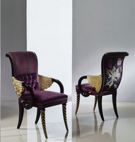AD3103-2016 aliye luxury armchair antique wooden wing back chairs with black lacquered and gold leaf legs and arms