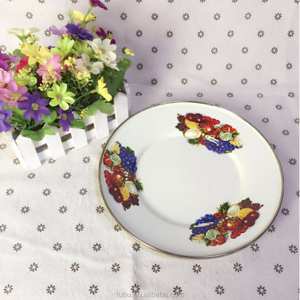 Food Grade material the tableware of Round enamel plate