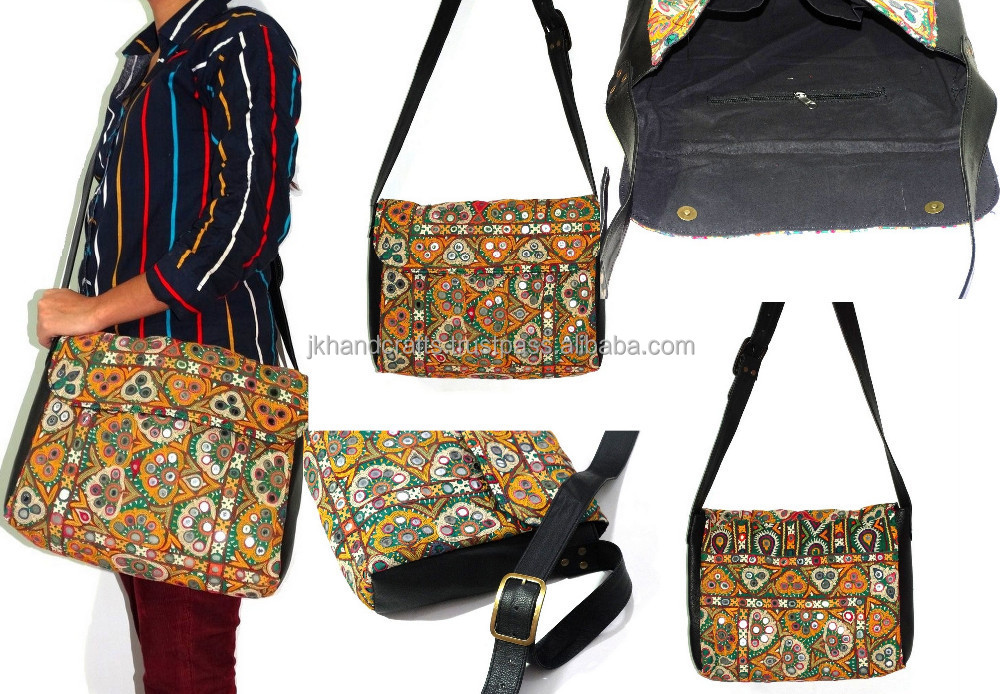 Vintage banjara shoulder bag women leather cross body bag