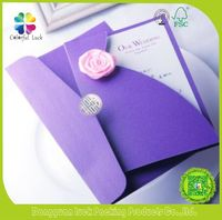 Romantic Purple Personalized Printed Insert Wedding Invitations with Envelope Made in China