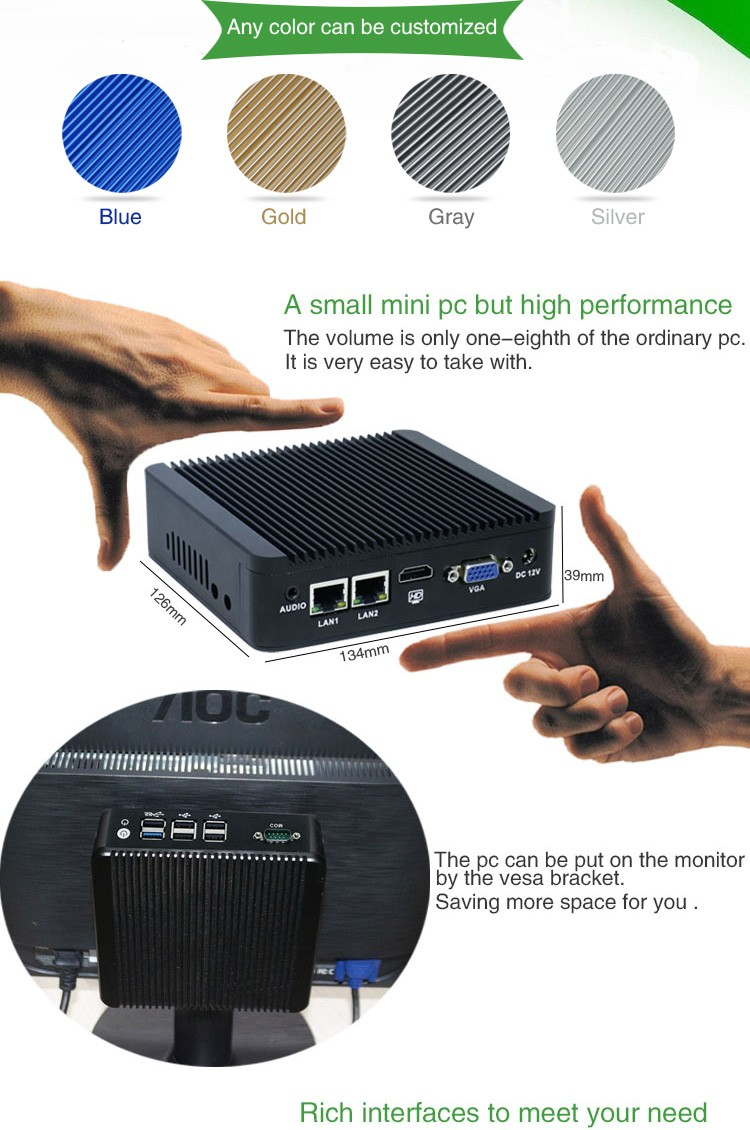 Intel J1900 N3 quad core dual lan fanless industrial mini embedded pc 12V, thin client desktop computer