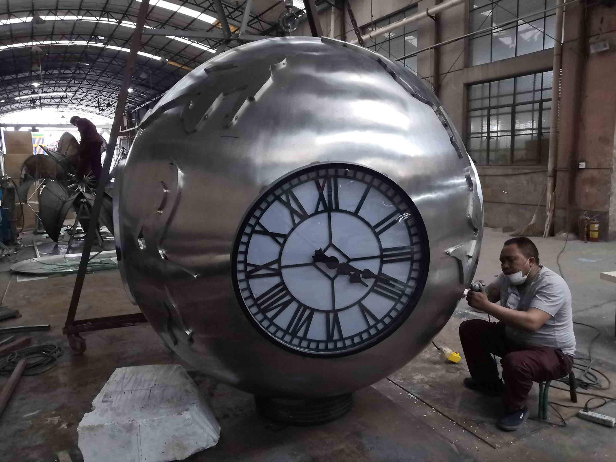 sphere clock ball stainless steel square sculpture for one belt one road
