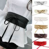 MOON BUNNY New Fashion Women belt Soft Leather Wide Self Tie Wrap Around Waist Band Dress Belt Y1 Wholessale MOQ 1set
