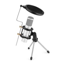 Adjustable Studio Condenser Microphone Stand Flexible Desktop Tripod for Microphone with Windscreen Filter Cover