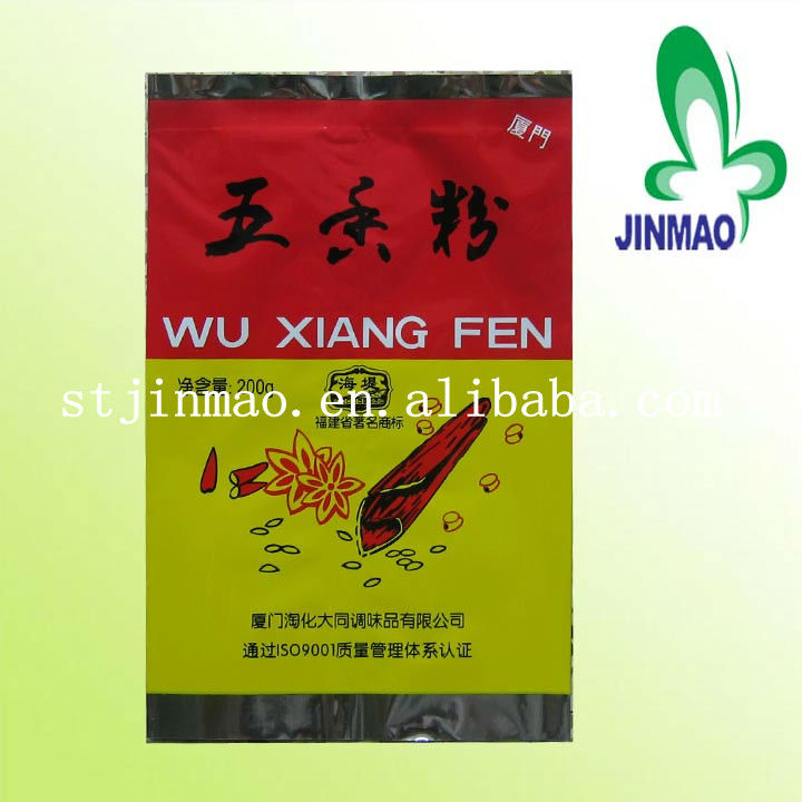 Color printed plastic bag for spice packaging