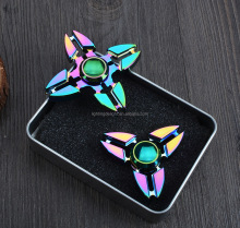 CE certifica In Stock Low price 2017 Newest Rainbow Aluminum Metal tri-fidget spinner Perfect For ADD, ADHD and Stress Relief