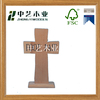 unfinished carved custom natural wooden mini cross with stand
