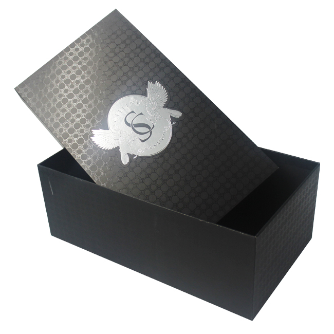 Wholesale Custom Printed Black Rigid Materials Cardboard Gift Shoe Box with Lid
