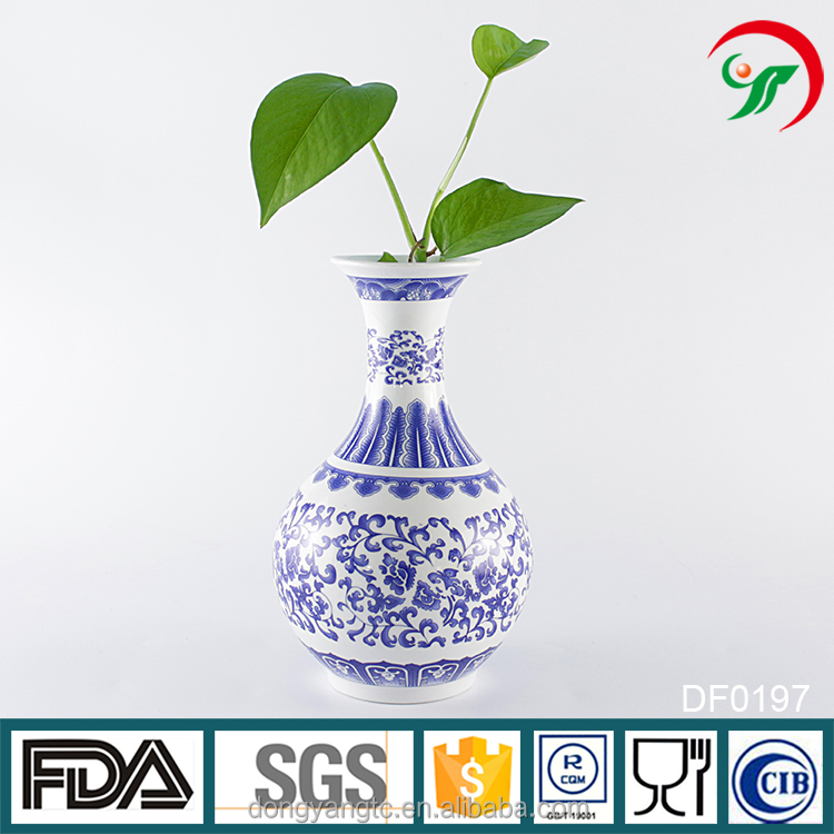 China suppliers custom wholesale blue white porcelain vase, ceramic flower vase painting designs
