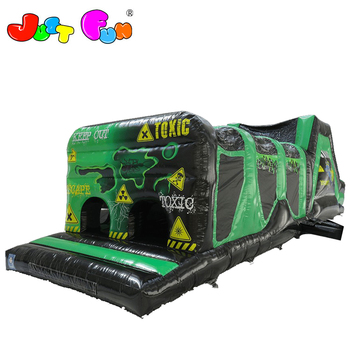2 part cheap inflatables obstacle course for sale, toxic inflatable obstacle with slide for kids and adults