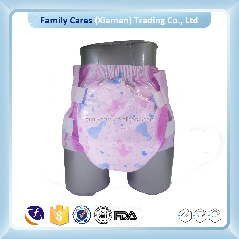New design free samples pink baby printed adult diaper manufacture