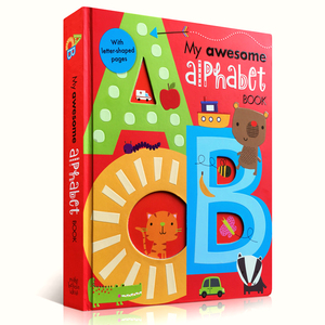 My Awesome Alphabet Book ABC English board Books Baby kids learning educational word book with letter shaped 56 pages