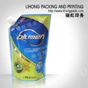 Custom Printed 990ml Spout Stand Up Plastic Pouch Packaging For Handwash Liquid