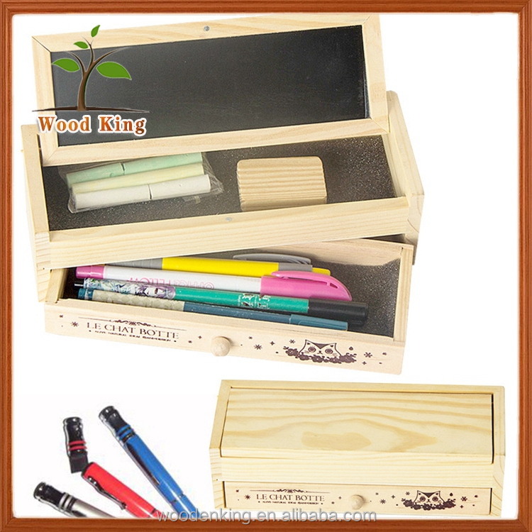 China Suppliers Han Edition Multi-Functional Creative DIY Stationery Box Custom Logo Wooden Kids Pencil Case
