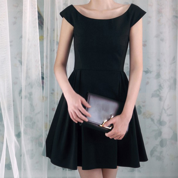 Womens Fashion Casual Dresses Sweet Girls Ladies Chic Slim Slash Neck Cap Sleeve Ball Gown A Line Little Black Evening Dress