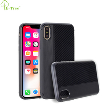 Brush Combo Carbon Fiber Pattern Rubber Tactile TPU Phone Cover Case For iPhone X