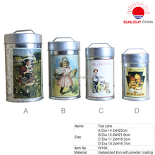 Four kinds of size high quality galvanized iron big food canister,tea coffee and sugar canister