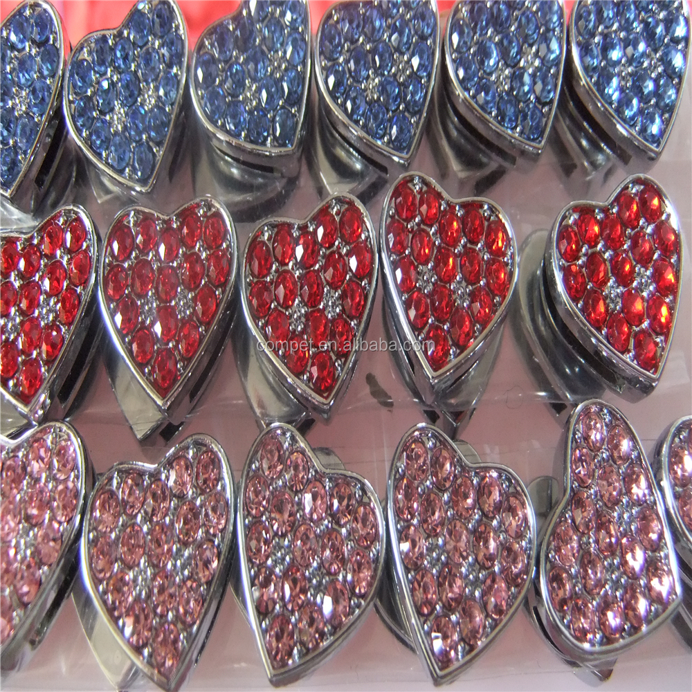 Factory Direct Supply of Encrusted with Diamonds 10MM Wear Jewelry Slider Heart Charms